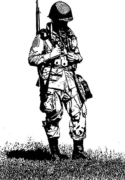 ww2 army combat soldier - army soldier stock illustrations, clip art, cartoons, & icons