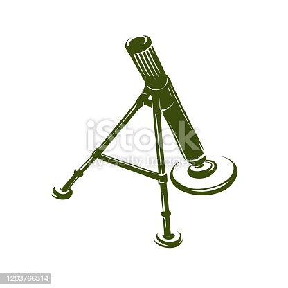 Army compact mortar in sketched style on a white background