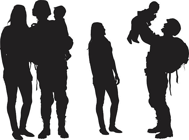 Army couple playing with their baby vector art illustration