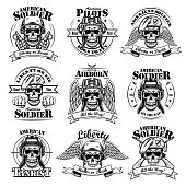 Army emblems set. Military labels template with skulls in pilot helmets or soldier hats, air force eagle wings, text and ribbons. Monochrome vector illustrations isolated on white background