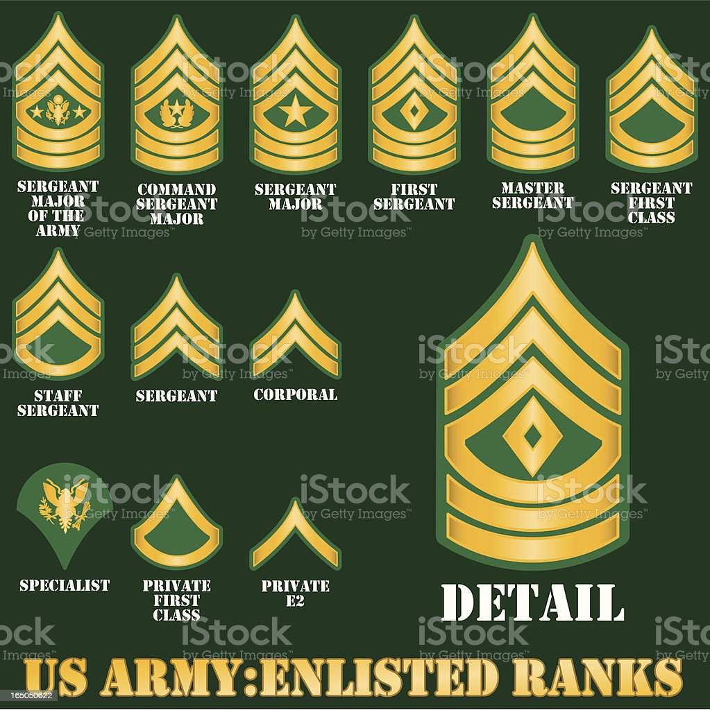 US Army Enlisted Ranks vector art illustration