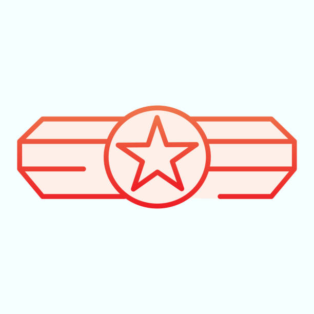 Army epaulet flat icon. Military rank with one star vector illustration isolated on white. Army badge gradient style design, designed for web and app. Eps 10. Army epaulet flat icon. Military rank with one star vector illustration isolated on white. Army badge gradient style design, designed for web and app. Eps 10 sergeant stock illustrations