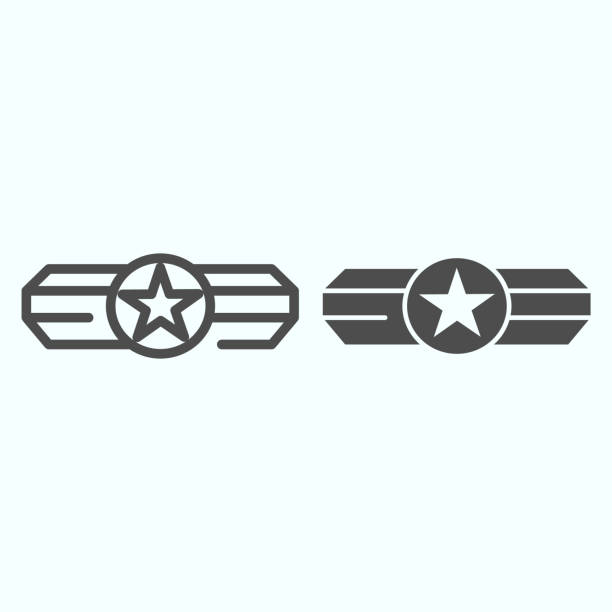 Army epaulet line and glyph icon. Military rank with one star vector illustration isolated on white. Army badge outline style design, designed for web and app. Eps 10. Army epaulet line and glyph icon. Military rank with one star vector illustration isolated on white. Army badge outline style design, designed for web and app. Eps 10 sergeant stock illustrations
