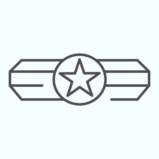 Army epaulet thin line icon. Military rank with one star vector illustration isolated on white. Army badge outline style design, designed for web and app. Eps 10. Army epaulet thin line icon. Military rank with one star vector illustration isolated on white. Army badge outline style design, designed for web and app. Eps 10 sergeant stock illustrations