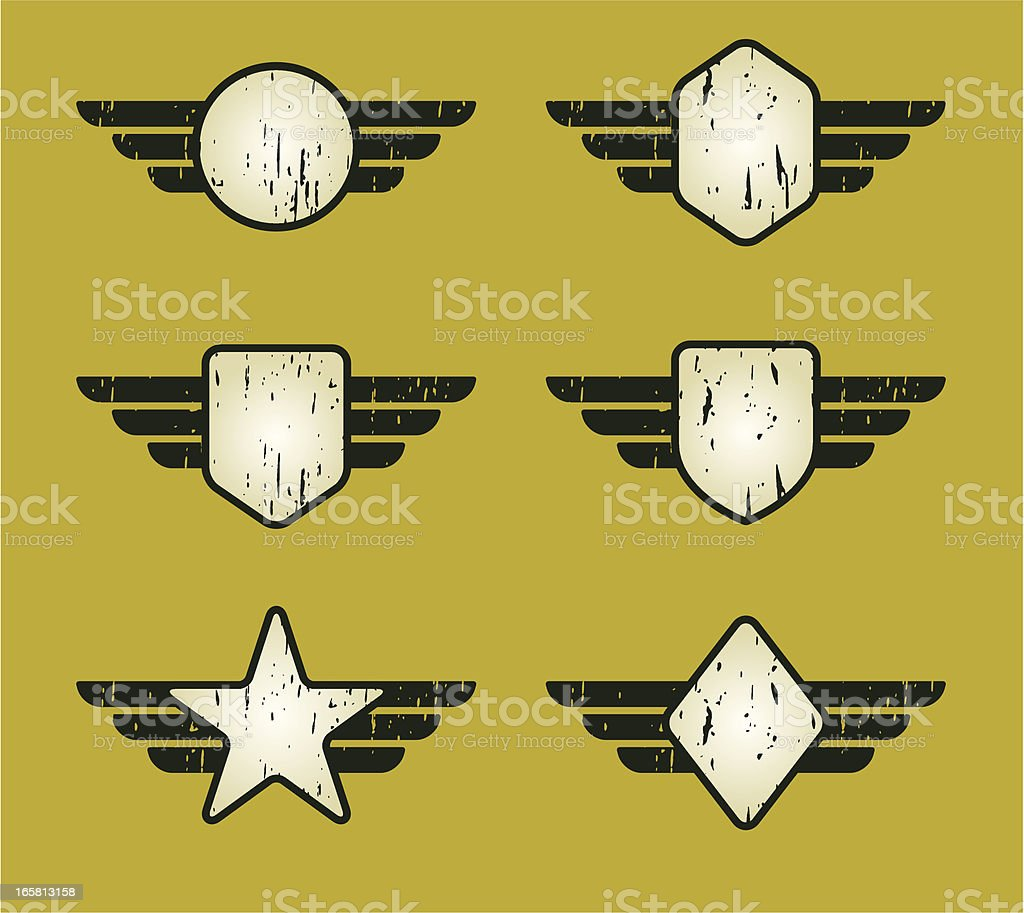 army flying set royalty-free stock vector art