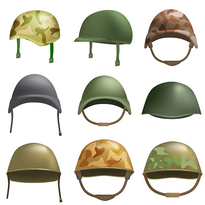 Army helmet soldier military hat mockup set, realistic style