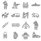 Army, line icons set. Editable stroke