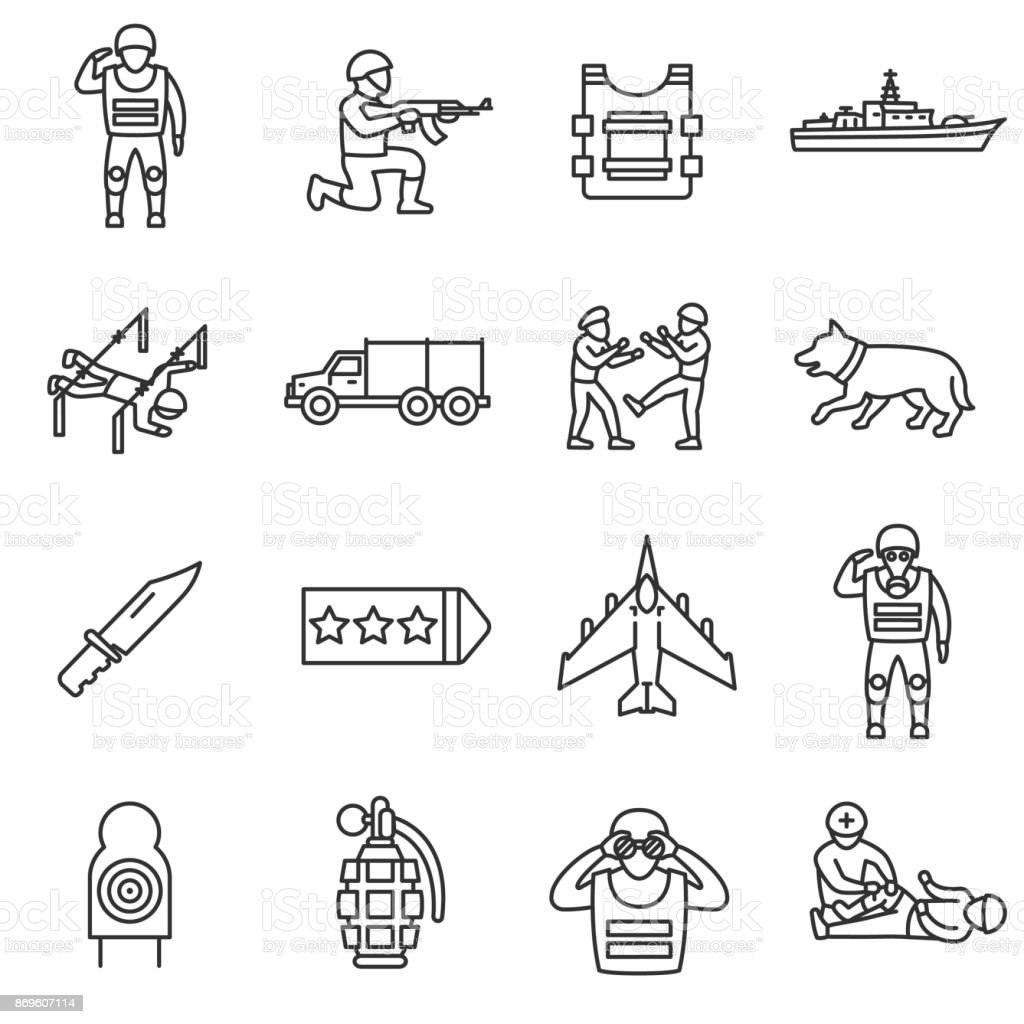 Army, line icons set. Editable stroke vector art illustration