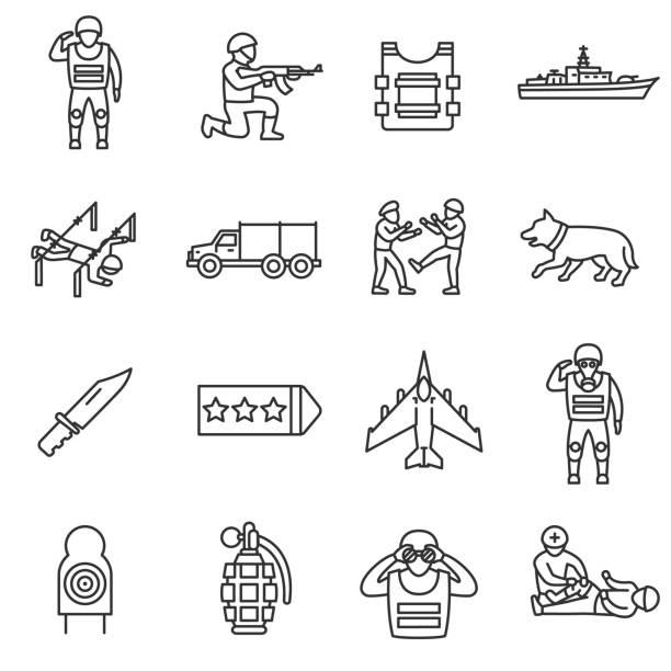 ilustraciones, imágenes clip art, dibujos animados e iconos de stock de ejército, configurar los iconos de la línea. movimiento editable - personal militar