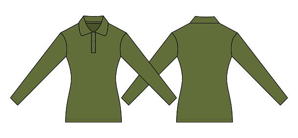 Army Long Sleeve Polo Shirt Vector For Template