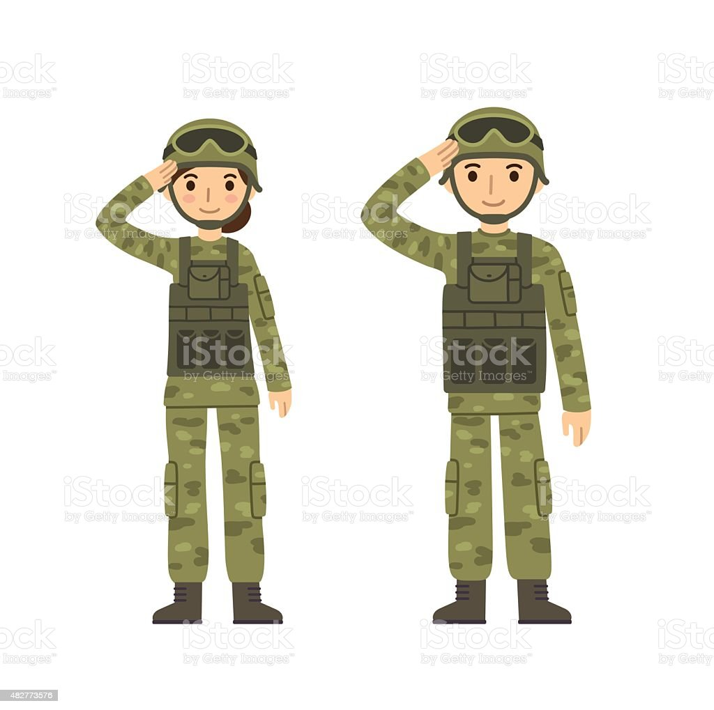 Army man and woman vector art illustration