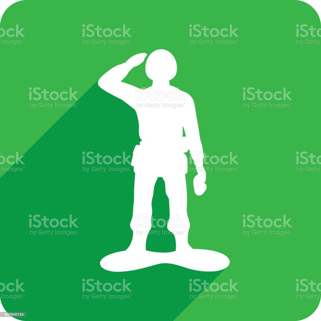 Army Man Icon Silhouette 1 vector art illustration