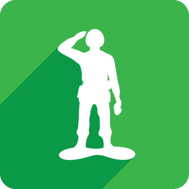 army man icon silhouette 1 - army soldier stock illustrations, clip art, cartoons, & icons