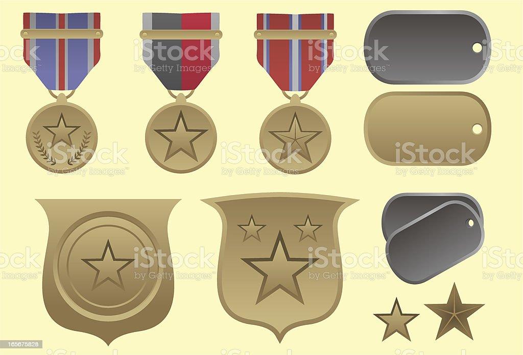 Exército medalhas - ilustração de arte em vetor