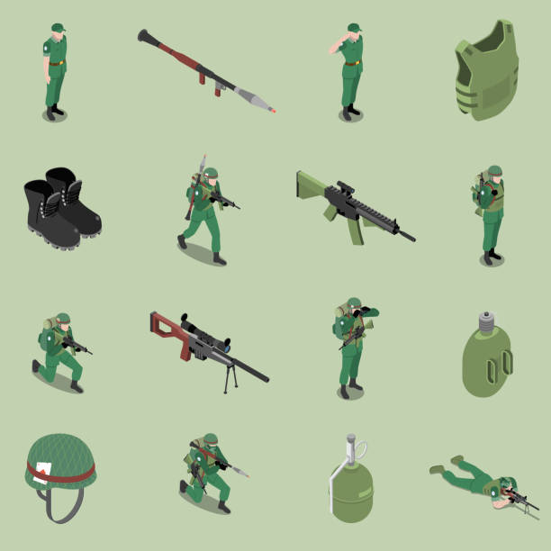 army military equipment solider isometric set Soldier equipment isometric set of helmet body armor rifles ankle boots soldier jar isolated icons vector illustration trooper stock illustrations