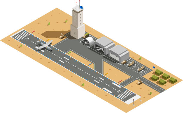 army military vehicles isometric composition Military air force base army facilities with hangars  helicopters vehicles and landing aircraft isometric composition vector illustration military base stock illustrations