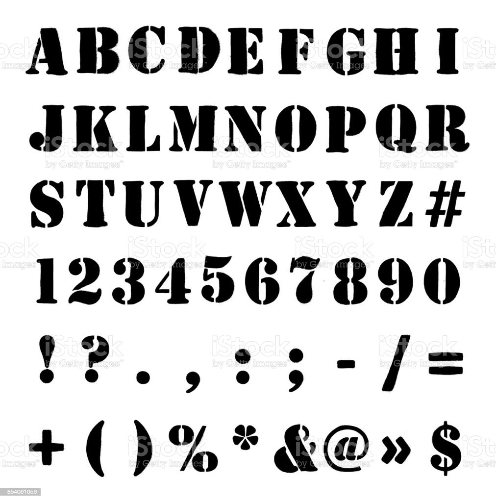 Army Or Crate Stencil Alphabet, Numbers And Symbols vector art illustration