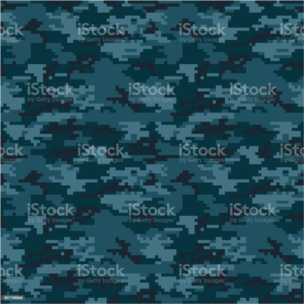 Army or Military Navy Digital Camouflage Seamless Vector Pattern or Seamless Vector Background