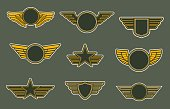 Army patches with wings, heraldic icons, vector winged insignia or emblems. Air force of round, shield and star shapes isolated on khaki colored background. Retro badges for officers or soldiers
