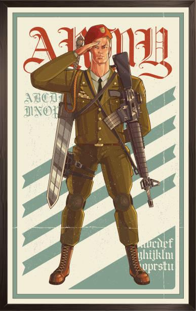 army poster - world war ii stock illustrations, clip art, cartoons, & icons