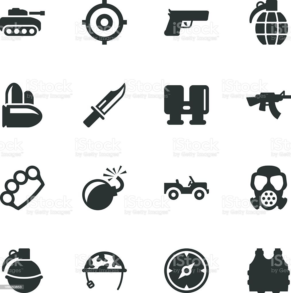 Army Silhouette Icons royalty-free stock vector art