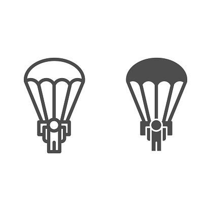 Army skydiver line and solid icon. Parachute jump, parachutist soldier symbol, outline style pictogram on white background. Military or warfare sign for mobile concept and web design. Vector graphics.