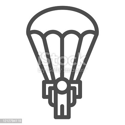 Army skydiver line icon. Parachute jump, parachutist soldier symbol, outline style pictogram on white background. Military or warfare sign for mobile concept and web design. Vector graphics