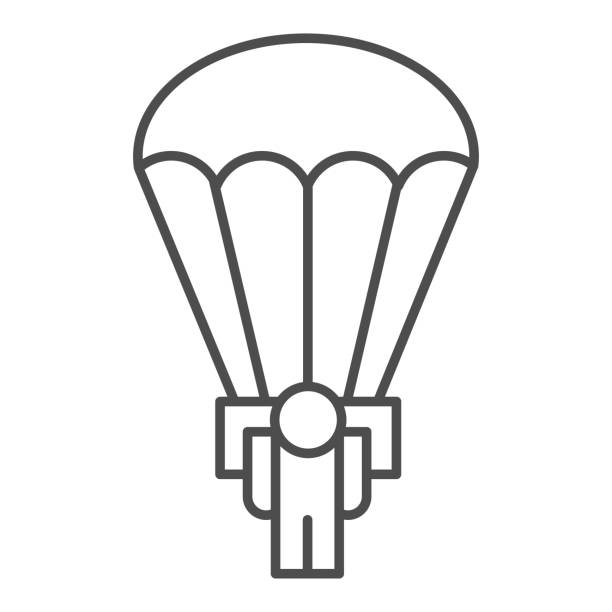 Army skydiver thin line icon. Parachute jump, parachutist soldier symbol, outline style pictogram on white background. Military or warfare sign for mobile concept and web design. Vector graphics. Army skydiver thin line icon. Parachute jump, parachutist soldier symbol, outline style pictogram on white background. Military or warfare sign for mobile concept and web design. Vector graphics adventure clipart stock illustrations