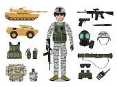 Army soldier character with military vehicle, weapons, military gear and equipment