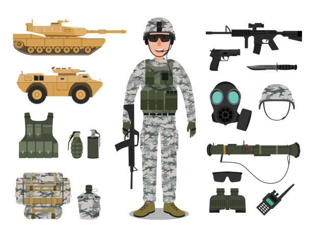 Army soldier character with military vehicle, weapons, military gear and equipment Military gear isolated on white background military uniform stock illustrations