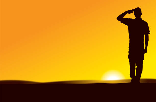 US Army Soldier Saluting at Sun Rise or Sun Set Silhouette illustration of a US Army Soldier Saluting at Sun Rise or Sun Set major military rank stock illustrations