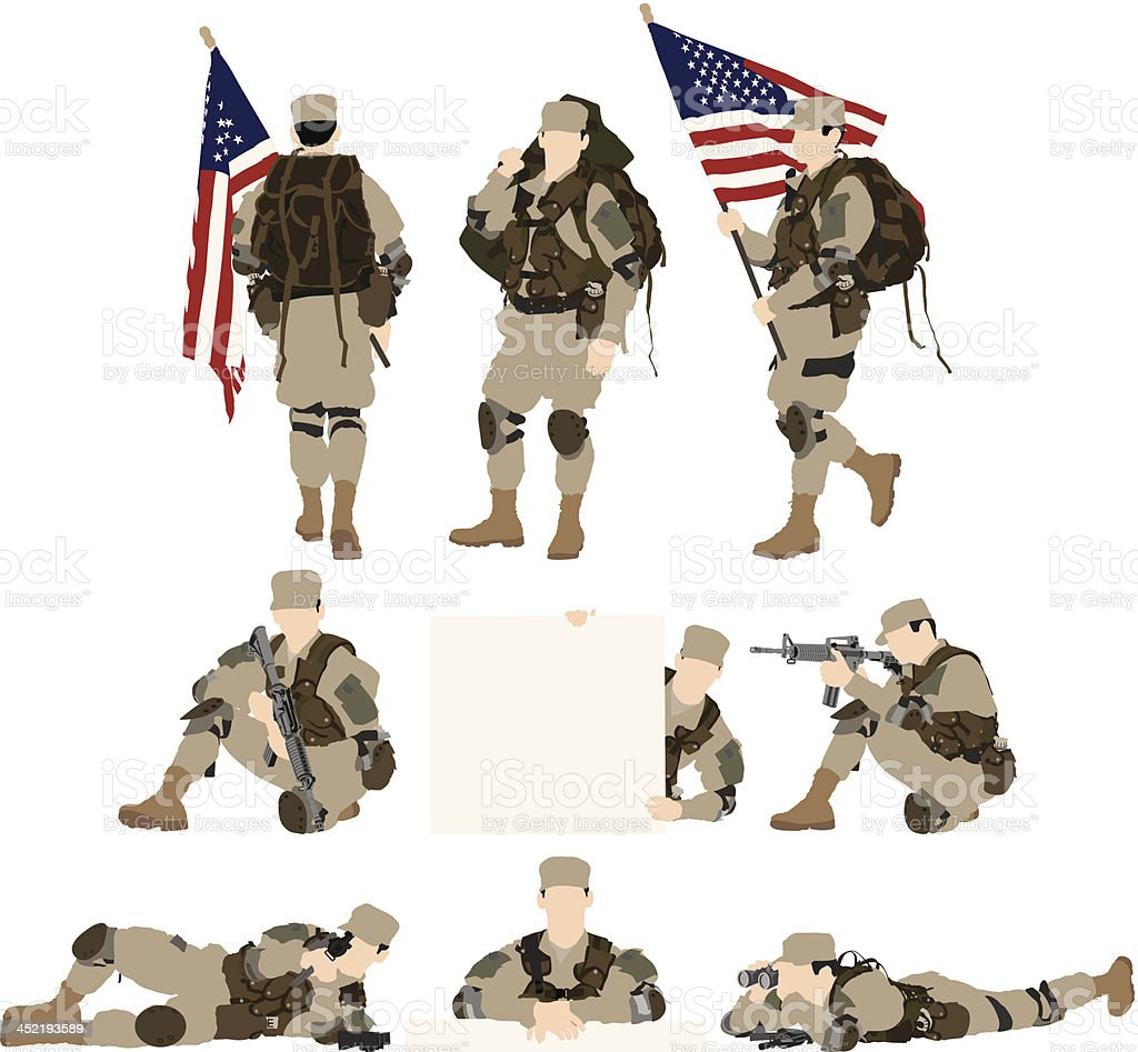 Army soldier vector art illustration