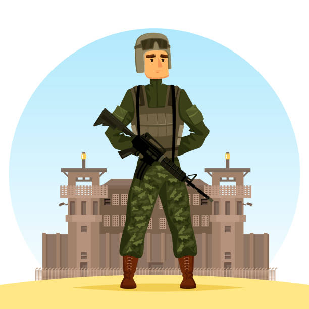 Army soldier with m16 gun USA soldier near fort or post, guard in camouflage near prison, armed man with m16 near jail, trooper with rifle and helmet near base. Army and war, authority and military, american force theme trooper stock illustrations