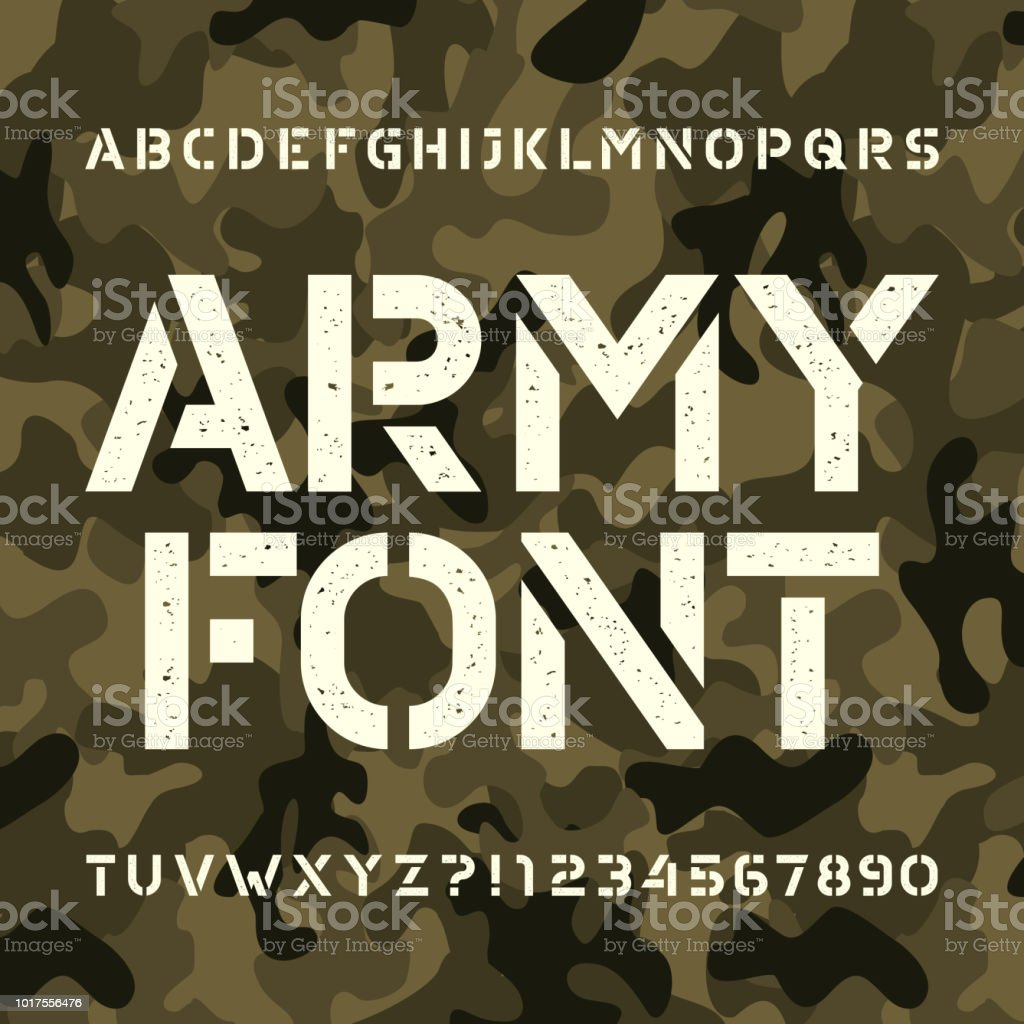 army stencil alphabet font messy type letters and numbers on green