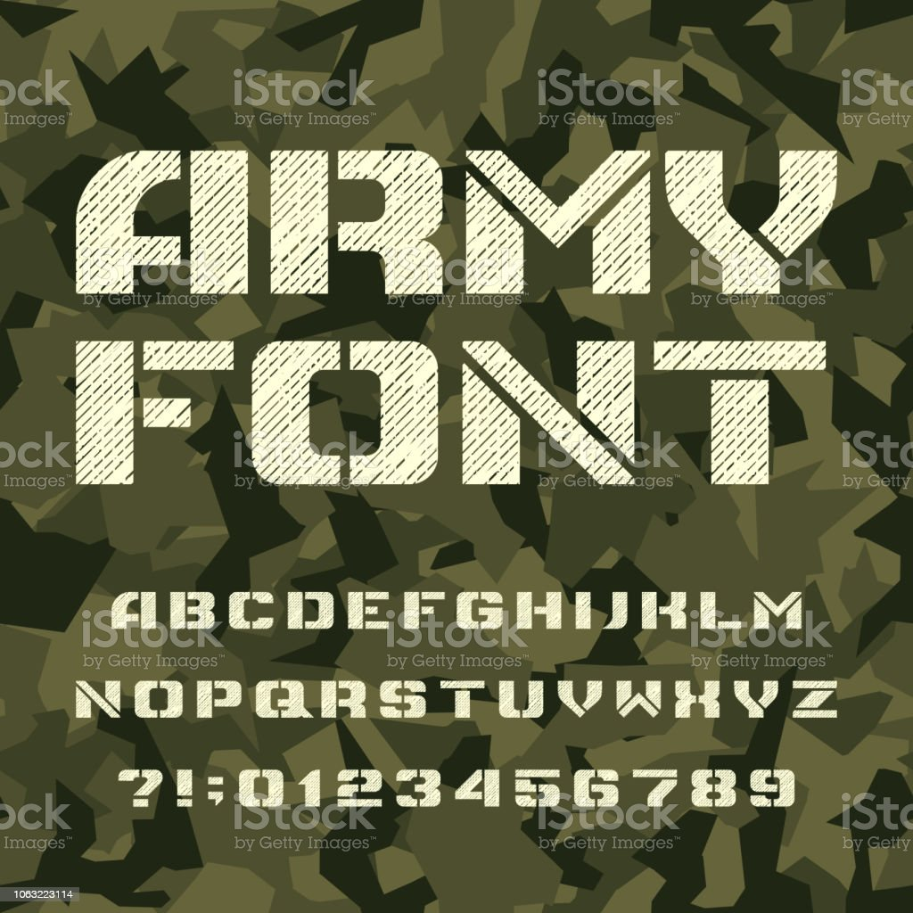 Army Stencil Alphabet Font Type Letters And Numbers On A
