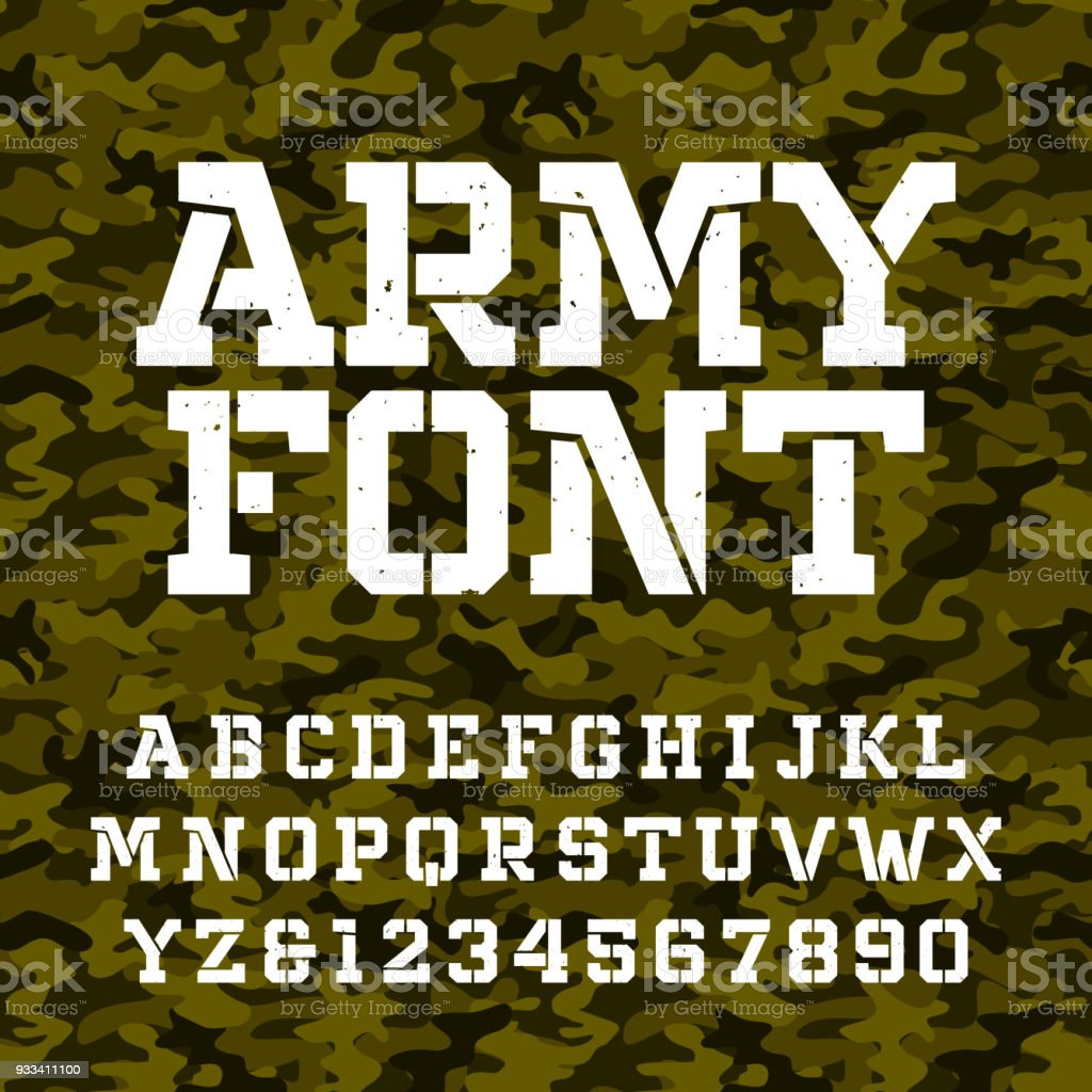 Army Stencil Alphabet Font Type Letters And Numbers Stock Illustration -  Download Image Now