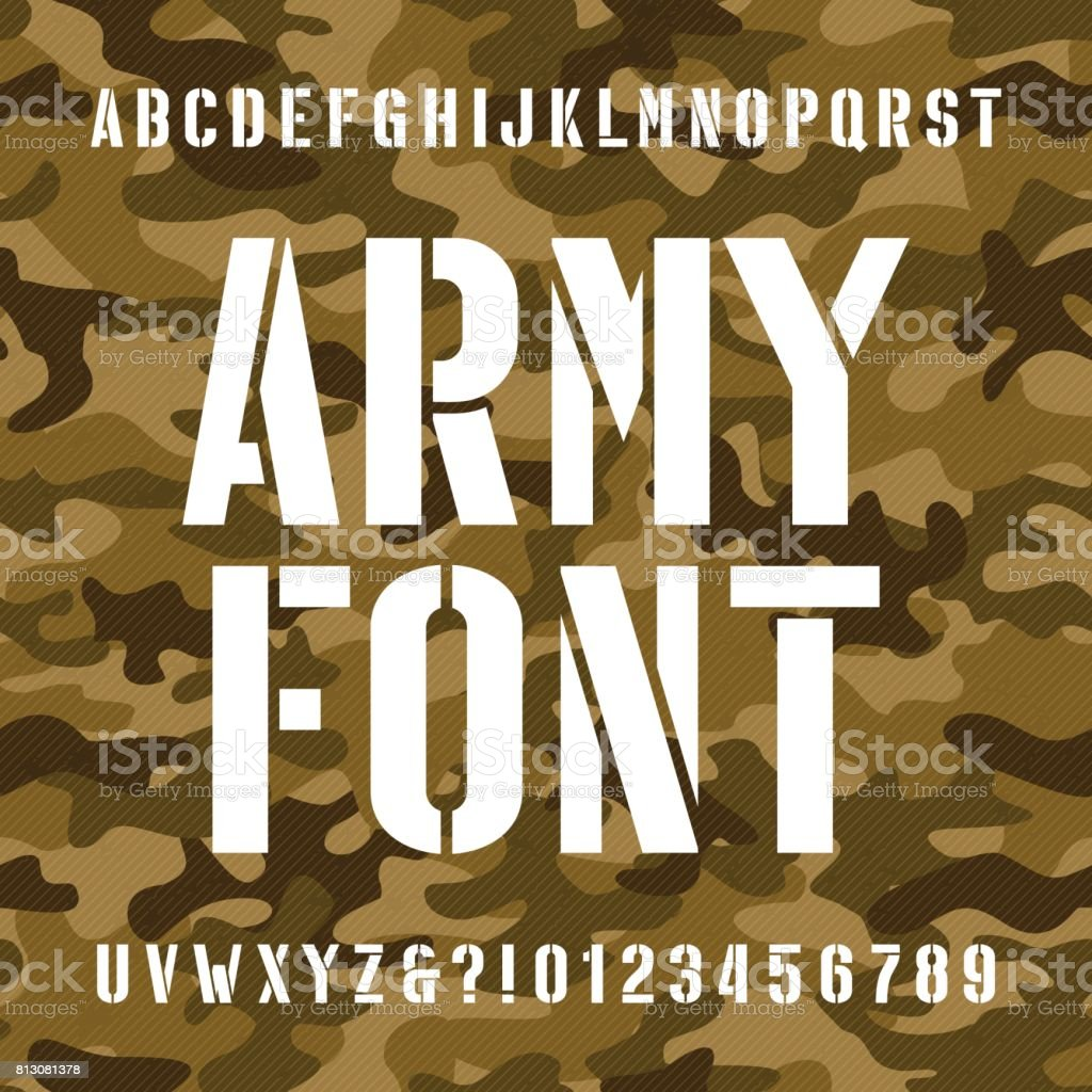 Army Stencil Alphabet Font Stock Illustration - Download