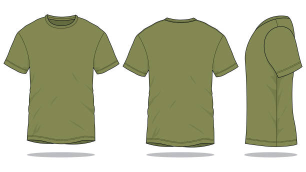 ilustrações de stock, clip art, desenhos animados e ícones de army t-shirt vector for template - modelos