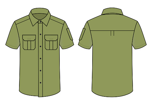 Army Uniform Shirt With Pen Holder Vector For Template