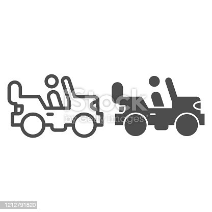 istock Army vehicle line and solid icon. Offroad rover with person, car and soldier symbol, outline style pictogram on white background. Military sign for mobile concept and web design. Vector graphics. 1212791820