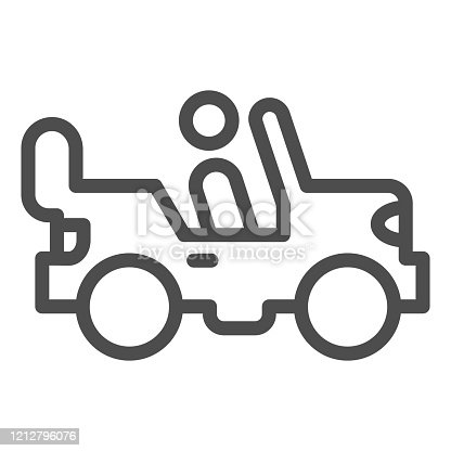 istock Army vehicle line icon. Offroad rover with person, car and soldier symbol, outline style pictogram on white background. Military sign for mobile concept and web design. Vector graphics. 1212796076