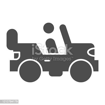 istock Army vehicle solid icon. Offroad rover with person, car and soldier symbol, glyph style pictogram on white background. Military sign for mobile concept and web design. Vector graphics. 1212794179