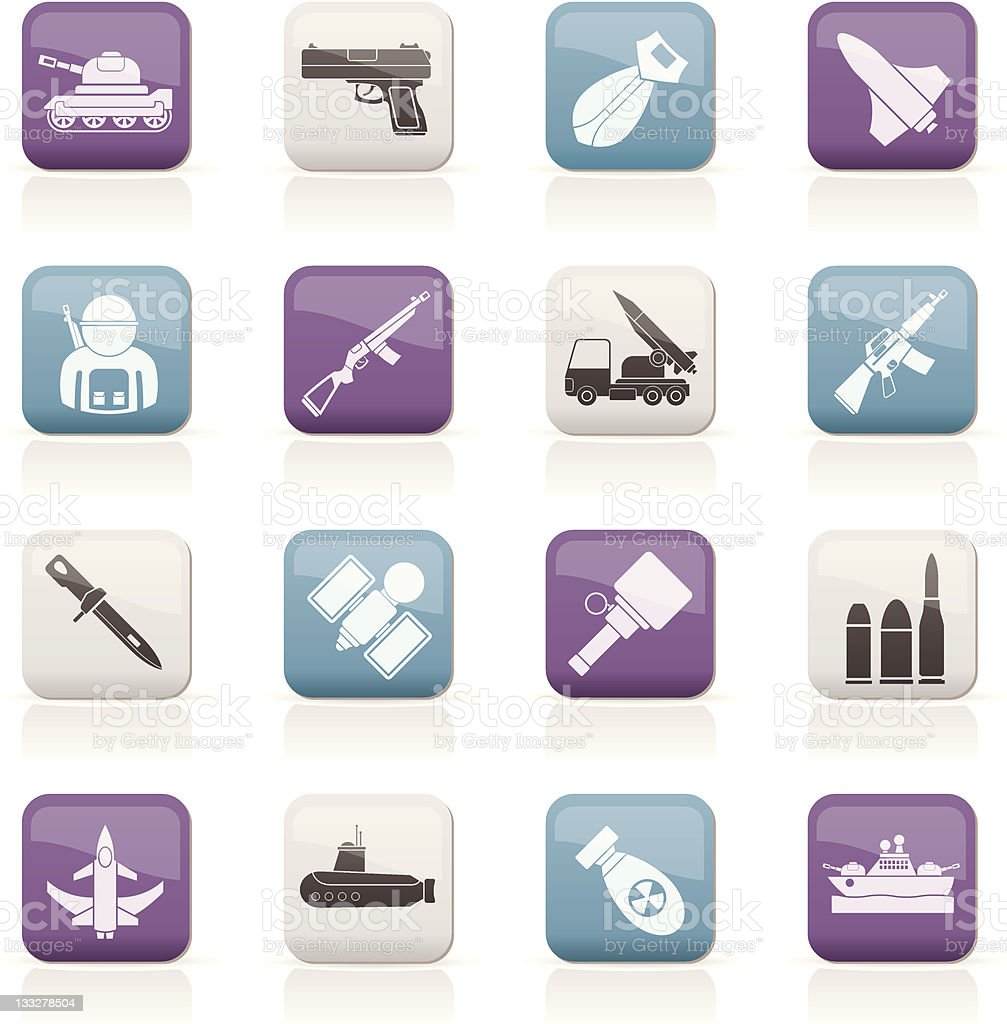 Army, weapon and arms Icons royalty-free stock vector art