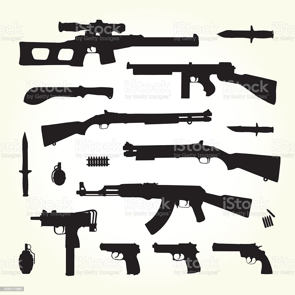 Army weapons vector art illustration