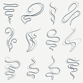 Aroma and smoke line stream. Smell linear trails vector set