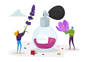 Aroma Composition. Perfumery Creation. Perfumer Characters Create New Perfume Fragrance. Tiny People Bring Violet Flowers to Huge Sprayer Bottle with Toilet Water. Cartoon People Vector Illustration