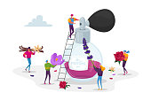 Aroma Composition, Perfumery. Male and Female Perfumer Characters Create New Perfume Fragrance. Tiny People Bring Ingredients to Huge Sprayer Bottle with Toilet Water. Cartoon Vector Illustration