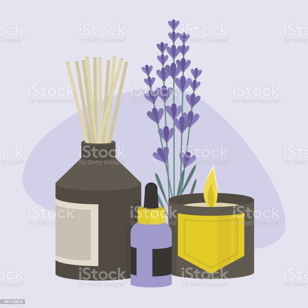Aroma therapy set. A collection of home fragrances: aroma candle, sticks and oil / flat editable vector illustration, clip art vector art illustration