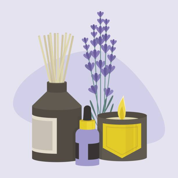 Aroma therapy set. A collection of home fragrances: aroma candle, sticks and oil / flat editable vector illustration, clip art Aroma therapy set. A collection of home fragrances: aroma candle, sticks and oil / flat editable vector illustration, clip art scented stock illustrations