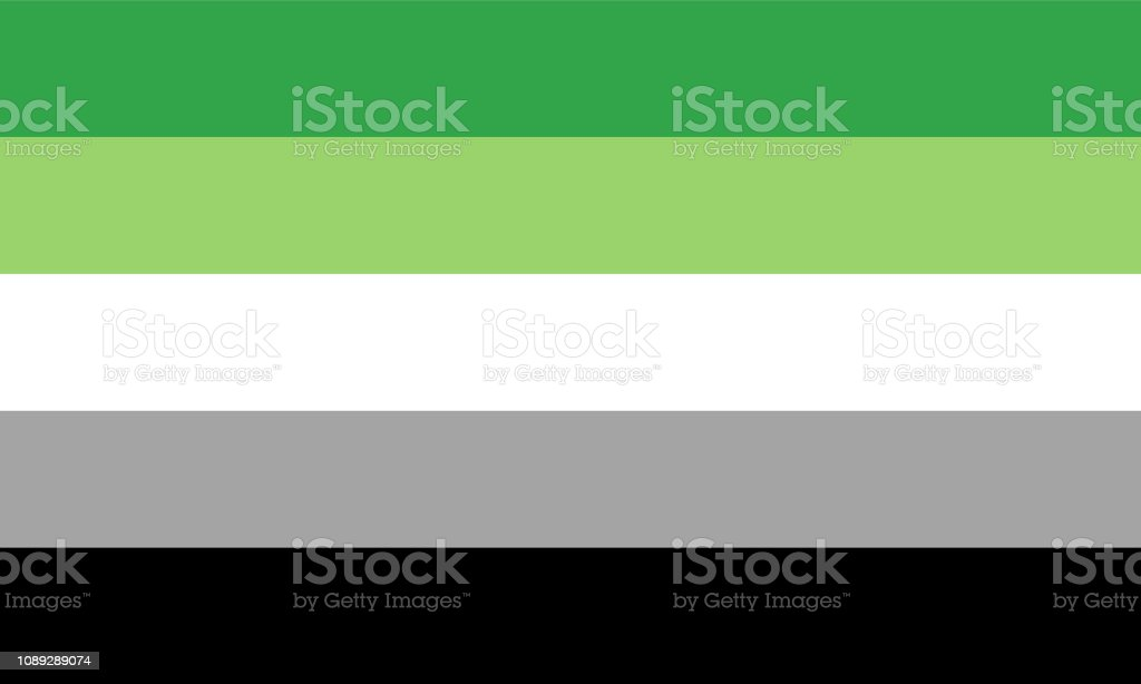 Aromantic flag - one of a communities of LGBT pride sexual minority vector art illustration